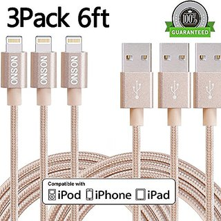 ONSON Lightning Cable,3Pack 6FT Extra Long Nylon Braided iPhone Lightning Cable USB Charging Cord for iPhone 7/7 Plus,6/