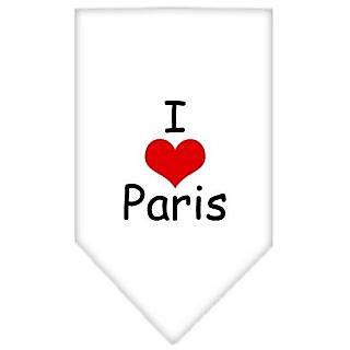 Mirage Pet Products I Heart Paris Screen Print Bandana for Pets, Large, White