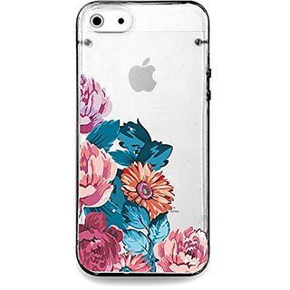 Vintage flower rose, floral clear bumper hard cover case for iPhone 5s / 5 (Black)
