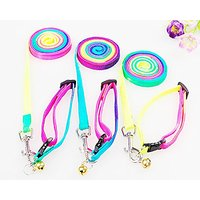 AVOCADO 1pc Pet Dog Colorful Rainbow Nylon Rope Training Leash Lead Harness With Adjustable Strap Collar