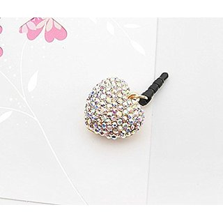 Tiny Chou Lovely Colorful Jewel Heart 3.5 mm Cell Phone Charm Anti Dust Plug Earphone Cap Headphone Jack Accessory for i