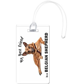 Rikki Knight My Best Friend is A Belgian Shepherd Dog Luggage Tags, White