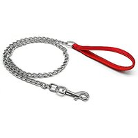 Berry Pet Premium 4.0 Mm4 Foot Chain Heavy Duty Dog Leash - Red Soft Leather Handle Lead - Perfect Training Leashes For