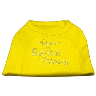 Mirage Pet Products 12-Inch I Believe in Santa Paws Print Shirt for Pets, Medium, Yellow