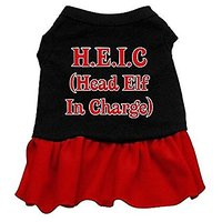 Mirage Pet Products 18-Inch Head Elf In Charge Screen Print Dress, XX-Large, Black With Red