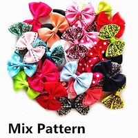 My Little Star Pet - Handmade Mix Pattern Design Bow For Small Cats/dogs , Small Bow For Small Size Cat/dogs (10 Piece M