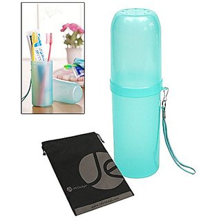 JAVOedge Turquoise Travel Toothbrush Brush and Toothpaste Portable Container, Cap, Wristlet, Bonus Storage Bag