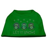 Mirage Pet Products 14-Inch Let It Snow Penguins Rhinestone Print Shirt For Pets, Large, Emerald Green