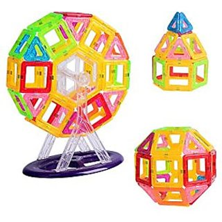 Joy Mags Mini Size Magnetic Blocks Clear Building Tiles Construction Stacking Toys Set (58 Pieces)