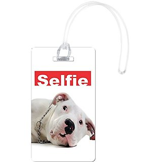 Rikki Knight Selfie Argentinian Dog Design Flexi Luggage Tags, White