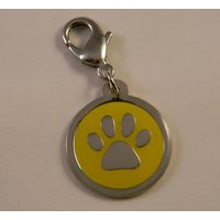 Yellow Paw Print Pet Collar Charm