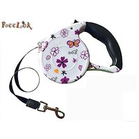 New Reelok Automatic Retractable Butterfly And Flower Patterns 16.5 Feet (5 M) Polyester Dog Leash