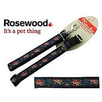 "Dog Lead And Collar , Navy Blue With Floral Design ,Large , Collar Fits 18-28"" , Lead 40"""