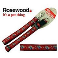 "Dog Lead And Collar , Red With Floral Design ,Large , Collar Fits 18-28"" , Lead 40"""