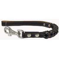 "Black Leather Braided Dog Short Traffic Leash 16"" Long 4-thong Square Braid For Large Breeds"
