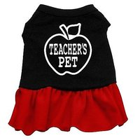 Mirage Pet Products 14-Inch Teachers Pet Screen Print Dress, Large, Black With Red