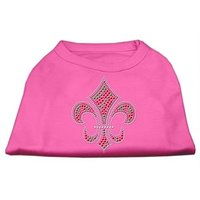 Mirage Pet Products 14-Inch Holiday Fleur De Lis Rhinestone Print Shirt For Pets, Large, Bright Pink