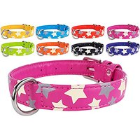 CollarDirect Safety Reflective Dog Collar Leather Glow In The Dark Pink Red Purple Black Blue Orange Yellow Lime Green (