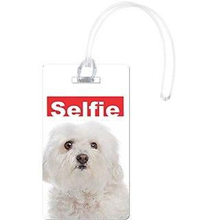 Rikki Knight Selfie Bolognese Dog Design Flexi Luggage Tags, White