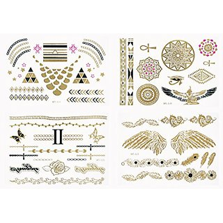 SunUp The Latest invention Super Cool 3D Tattoo Metallic Simulation Tattoo Gold Fashion Accessory - 4 Sheets of Temporar
