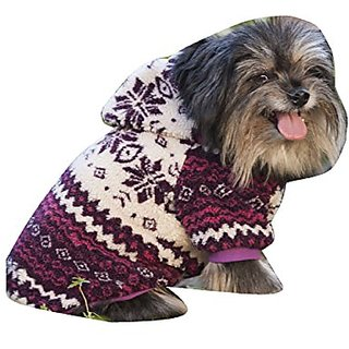 Fashion Pet Sherpa Printed Dog Coat, Small, Plum