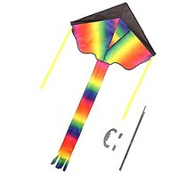 "Huge Rainbow Kite For Kids And Adults - Easy To Assemble, Launch And Fly - 48"" Head To Tail &"