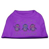 Mirage Pet Products 14-Inch Let It Snow Penguins Rhinestone Print Shirt For Pets, Large, Purple
