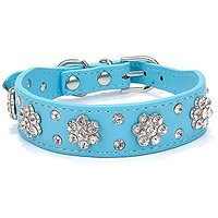 Gimilife Pet Collars 2 Rows Rhinestone Bling Flower Studded PU Leather Dog Collar For Small Or Medium Dogs (Blue, S)