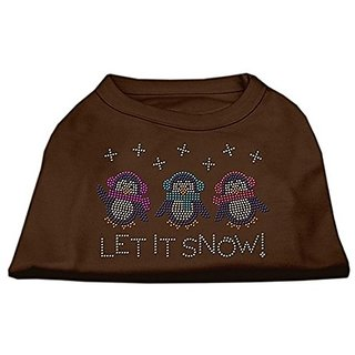 Mirage Pet Products 14-Inch Let it Snow Penguins Rhinestone Print Shirt for Pets, Large, Brown