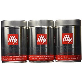 illy Caffe Normale Fine Grind (Medium Roast, Red Band) 8.8 coffee cans (Pack of 6)