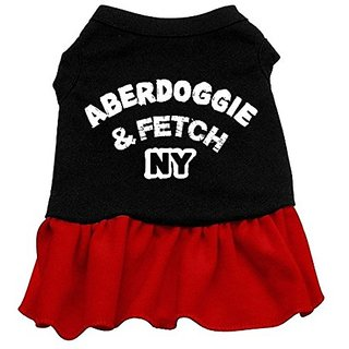 Mirage Pet Products 16-Inch Aberdoggie NY Dress, X-Large, Black with Red