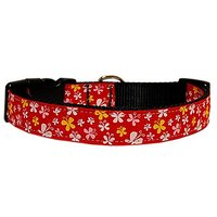 Mirage Pet Products Butterfly Nylon Ribbon Collar, Medium, Red