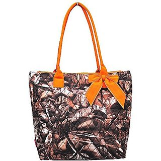 NGIL Quilted Camo Print Medium Tote Bag (Orange)