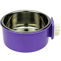 Lesypet® Removable Stainless Steel Hanging Bowl Cat Bowl Dog Water Bowl Birds Food Bowl -Purple
