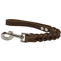 Brown Leather Braided Dog Short Traffic Leash 12 Long 4-thong Square Braid For Large Breeds