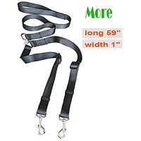 Pet Parade No-Tangle Dual Dog Leash, Double Dog Leash Coupler For 2 Dogs, For Big Dogs,Black (4.9-ft)
