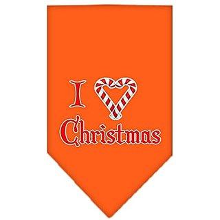 Mirage Pet Products Heart Christmas Screen Print Bandana for Pets, Small, Orange