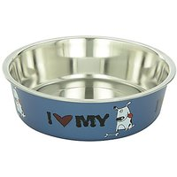 Loving Pets I Love My Dog Bella Bowl For Dogs, Medium, 1-Quart, Steel Blue