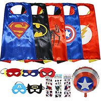 Superhero Costumes For Kids - 5 Capes, 5 Masks 3 Stickers And A Superhero Balloon
