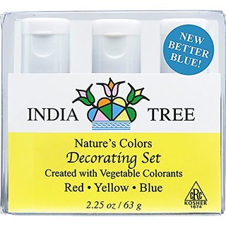 India Tree Natural Decorating Colors, 3 bottles(red,yellow,blue)
