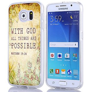 S6 Case Christian Quotes, Samsung Galaxy S6 Bible Verses Matthew 19:26 With God All Things Are Possible