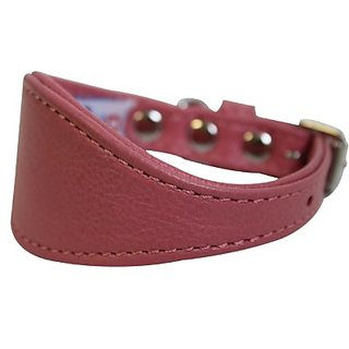 Leather Hound Dog Collar, Wide, Padded, Double-Ply, Riveted Settings, 12