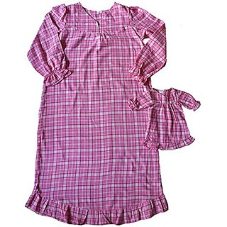 Size 12 Matching Girl And Doll Pink Flannel Nightgowns