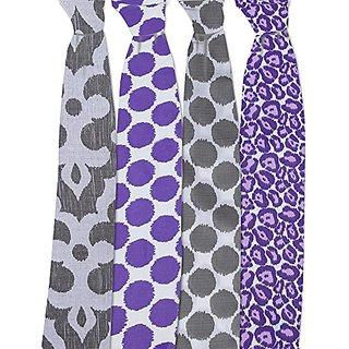 Bacati Ikat Lilac/grey Dots/leopard Swaddling Muslin Blankets Set Of 4