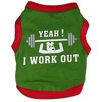 WEI QIU 2016 Hot New Summer Shirt Small Dog Cat Pet Puppy I Work Out Vest T Shirt X-Small Green