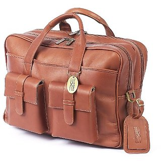 Claire Chase Platinum Briefcase, Saddle, One Size