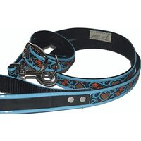 Jodi Heads RJ Cash Petwear Brocade Blue Hearts Dog Collar And Leash, Large, Black With Blue, Red And Blue Binding