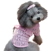 One Tail Four Paws Lace Ruffles Shirt, X-Small, Baby Pink