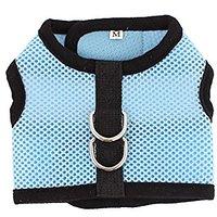 Uxcell Pet Dog Adjustable Side Release Buckle Mesh Harness Vest, Blue/Black, Medium