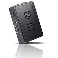 GIM 2-outlet Surge Protector Power Strip With 4 USB Charging Ports,5.9ft Power Cord